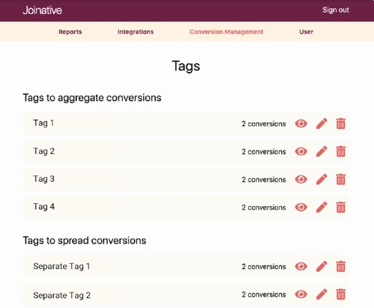 Types of conversion tags