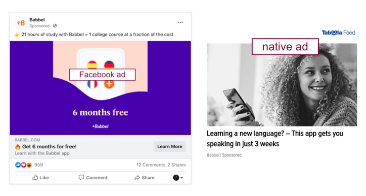 Facebook ads vs. Native ads