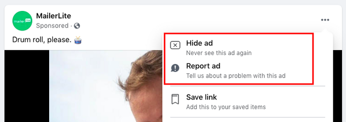 Negative feedback on FB ads