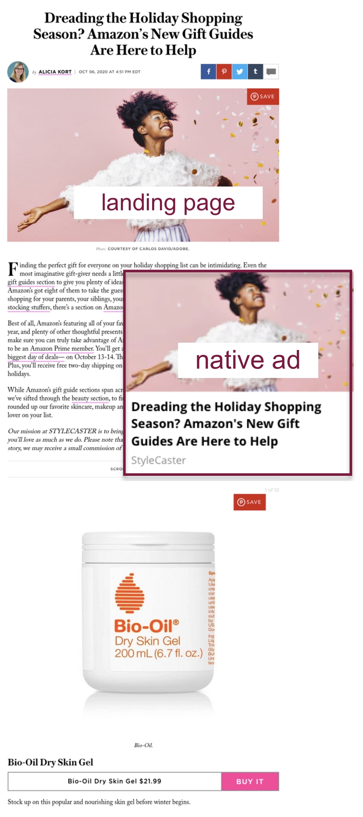 StyleCaster native ad example