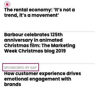 In-feed sponsored content