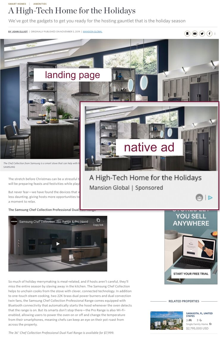 Mansion Global native ad example