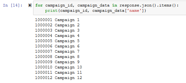 Campaign response from the MGID API for Advertisers