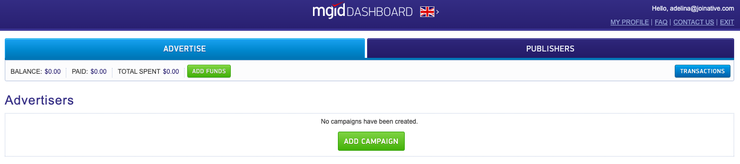 MGID dashboard