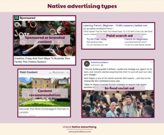 Types of native advertising