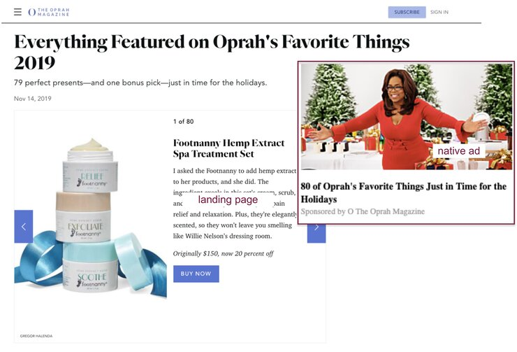 Oprah Magazine native ad example