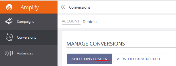 Create s2s conversion for Outbrain