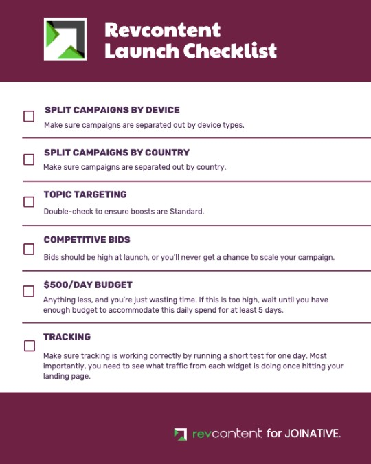 Revcontent launch checklist