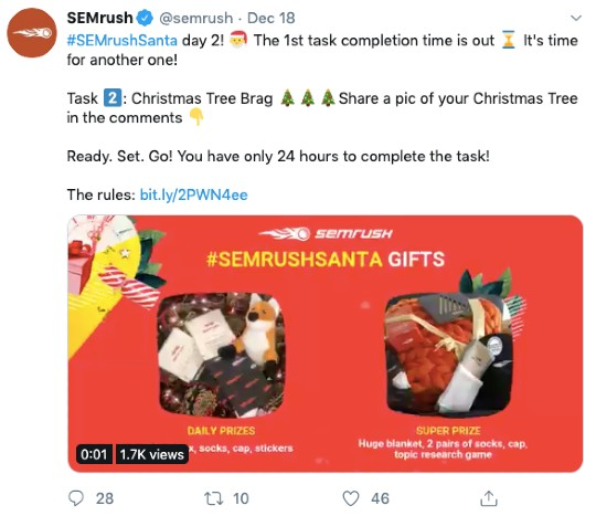 SEMrush holiday Twitter campaign example