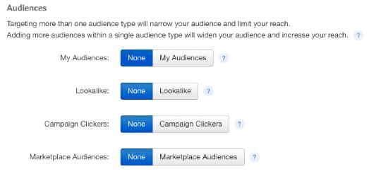 Taboola's audience targeting options