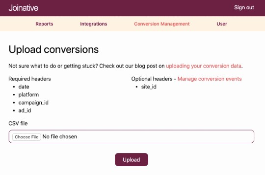 Upload conversions